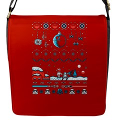 That Snow Moon Star Wars  Ugly Holiday Christmas Red Background Flap Messenger Bag (s)