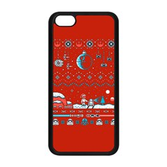 That Snow Moon Star Wars  Ugly Holiday Christmas Red Background Apple Iphone 5c Seamless Case (black)
