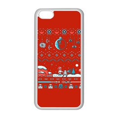 That Snow Moon Star Wars  Ugly Holiday Christmas Red Background Apple Iphone 5c Seamless Case (white)