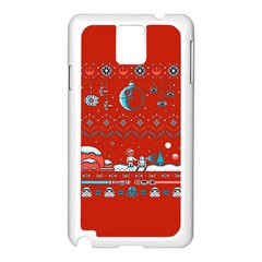 That Snow Moon Star Wars  Ugly Holiday Christmas Red Background Samsung Galaxy Note 3 N9005 Case (white)