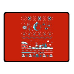 That Snow Moon Star Wars  Ugly Holiday Christmas Red Background Double Sided Fleece Blanket (small)