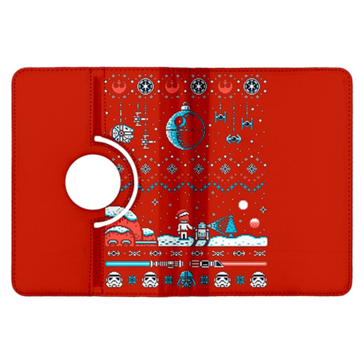 That Snow Moon Star Wars  Ugly Holiday Christmas Red Background Kindle Fire HDX Flip 360 Case