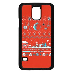 That Snow Moon Star Wars  Ugly Holiday Christmas Red Background Samsung Galaxy S5 Case (black)