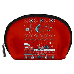 That Snow Moon Star Wars  Ugly Holiday Christmas Red Background Accessory Pouches (large)