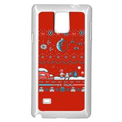 That Snow Moon Star Wars  Ugly Holiday Christmas Red Background Samsung Galaxy Note 4 Case (white)