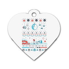 That Snow Moon Star Wars  Ugly Holiday Christmas Dog Tag Heart (two Sides)