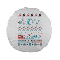 That Snow Moon Star Wars  Ugly Holiday Christmas Standard 15  Premium Round Cushions