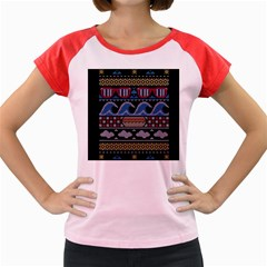 Ugly Summer Ugly Holiday Christmas Black Background Women s Cap Sleeve T Shirt