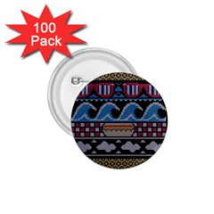 Ugly Summer Ugly Holiday Christmas Black Background 1.75  Buttons (100 pack)