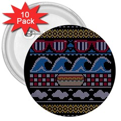 Ugly Summer Ugly Holiday Christmas Black Background 3  Buttons (10 pack)