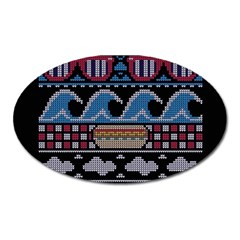 Ugly Summer Ugly Holiday Christmas Black Background Oval Magnet