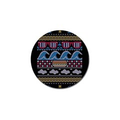 Ugly Summer Ugly Holiday Christmas Black Background Golf Ball Marker