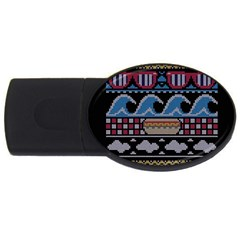 Ugly Summer Ugly Holiday Christmas Black Background USB Flash Drive Oval (2 GB)