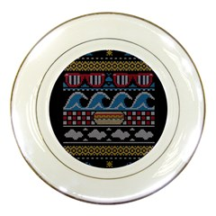 Ugly Summer Ugly Holiday Christmas Black Background Porcelain Plates