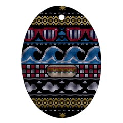 Ugly Summer Ugly Holiday Christmas Black Background Oval Ornament (two Sides)