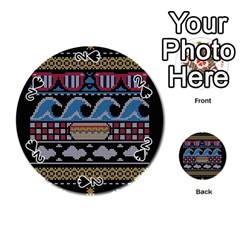 Ugly Summer Ugly Holiday Christmas Black Background Playing Cards 54 (Round)