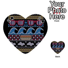 Ugly Summer Ugly Holiday Christmas Black Background Playing Cards 54 (Heart)