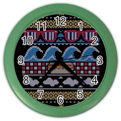Ugly Summer Ugly Holiday Christmas Black Background Color Wall Clocks