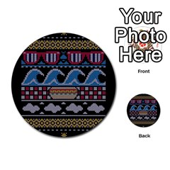 Ugly Summer Ugly Holiday Christmas Black Background Multi-purpose Cards (Round)
