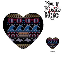 Ugly Summer Ugly Holiday Christmas Black Background Multi-purpose Cards (Heart)