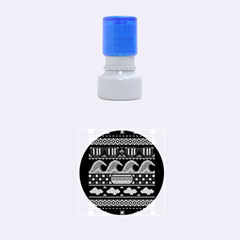 Ugly Summer Ugly Holiday Christmas Black Background Rubber Round Stamps (small)
