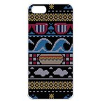 Ugly Summer Ugly Holiday Christmas Black Background Apple iPhone 5 Seamless Case (White) Front