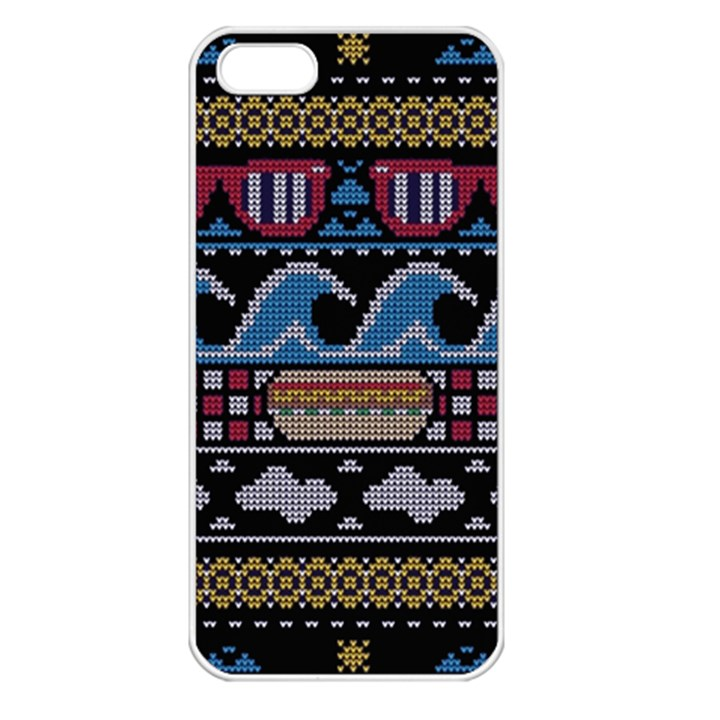 Ugly Summer Ugly Holiday Christmas Black Background Apple iPhone 5 Seamless Case (White)