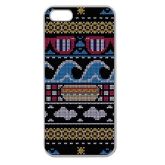 Ugly Summer Ugly Holiday Christmas Black Background Apple Seamless iPhone 5 Case (Clear)