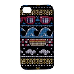Ugly Summer Ugly Holiday Christmas Black Background Apple iPhone 4/4S Hardshell Case with Stand