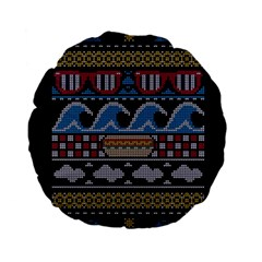 Ugly Summer Ugly Holiday Christmas Black Background Standard 15  Premium Flano Round Cushions