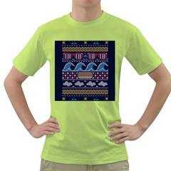 Ugly Summer Ugly Holiday Christmas Blue Background Green T Shirt