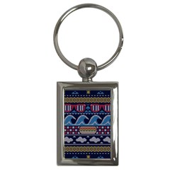 Ugly Summer Ugly Holiday Christmas Blue Background Key Chains (rectangle)