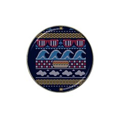 Ugly Summer Ugly Holiday Christmas Blue Background Hat Clip Ball Marker (4 Pack)