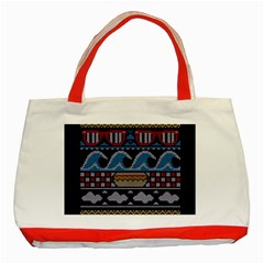 Ugly Summer Ugly Holiday Christmas Blue Background Classic Tote Bag (red)