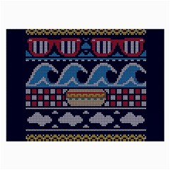 Ugly Summer Ugly Holiday Christmas Blue Background Large Glasses Cloth (2 Side)