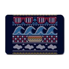 Ugly Summer Ugly Holiday Christmas Blue Background Small Doormat