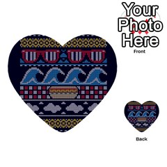 Ugly Summer Ugly Holiday Christmas Blue Background Multi Purpose Cards (heart)