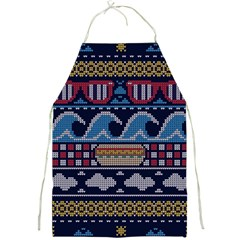 Ugly Summer Ugly Holiday Christmas Blue Background Full Print Aprons