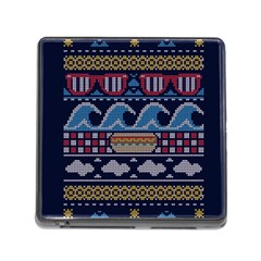 Ugly Summer Ugly Holiday Christmas Blue Background Memory Card Reader (square)