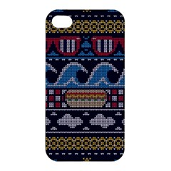 Ugly Summer Ugly Holiday Christmas Blue Background Apple Iphone 4/4s Premium Hardshell Case