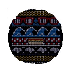 Ugly Summer Ugly Holiday Christmas Blue Background Standard 15  Premium Round Cushions