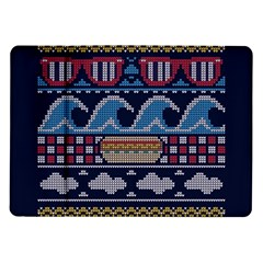 Ugly Summer Ugly Holiday Christmas Blue Background Samsung Galaxy Tab 10 1  P7500 Flip Case
