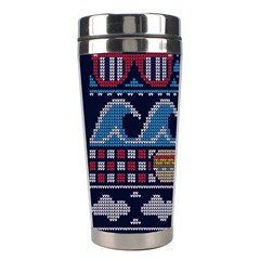 Ugly Summer Ugly Holiday Christmas Blue Background Stainless Steel Travel Tumblers