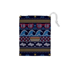 Ugly Summer Ugly Holiday Christmas Blue Background Drawstring Pouches (small)