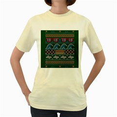 Ugly Summer Ugly Holiday Christmas Green Background Women s Yellow T Shirt