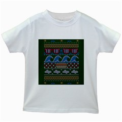 Ugly Summer Ugly Holiday Christmas Green Background Kids White T Shirts