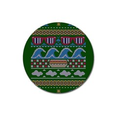 Ugly Summer Ugly Holiday Christmas Green Background Magnet 3  (round)