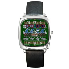 Ugly Summer Ugly Holiday Christmas Green Background Square Metal Watch