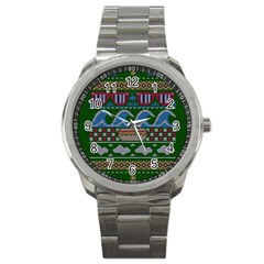 Ugly Summer Ugly Holiday Christmas Green Background Sport Metal Watch