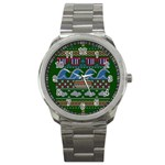Ugly Summer Ugly Holiday Christmas Green Background Sport Metal Watch Front